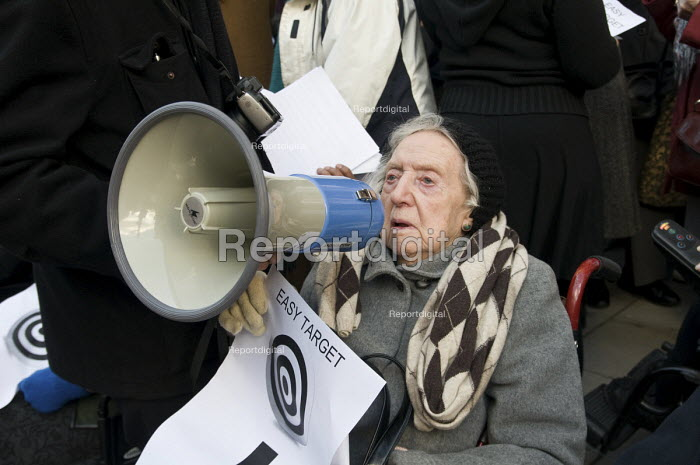99 year-old Lily Chitty joins users of Age Concern Camden's three resource centres at a demonstration outside Camden Town Hall following the council's decision to cut funding. - Philip Wolmuth - 2011-01-18