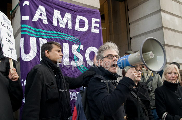 George Binette, Camden Unison branch Secretary, addresses users of Age Concern Camden's three resource centres at a demonstration outside Camden Town Hall following the council's decision to cut funding and close them down. - Philip Wolmuth - 2011-01-18