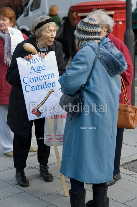 Users of Age Concern Camden's three resource centres demonstrate outside Camden Town Hall following the council's decision to cut funding and close them down. - Philip Wolmuth - 2011-01-18