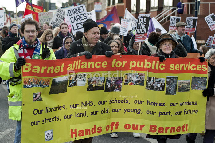Barnet Alliance for Public Services march in Finchley, London, to protest against cuts and privatisation of council services. - Philip Wolmuth - 2011-01-30