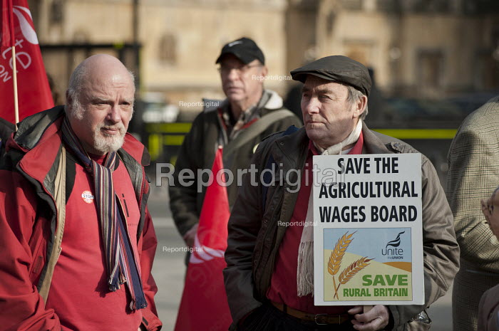 Agricultural workers at a Joint union lobby of Parliament over the Public Bodies Bill, Westminster, London. - Philip Wolmuth - 2011-02-09