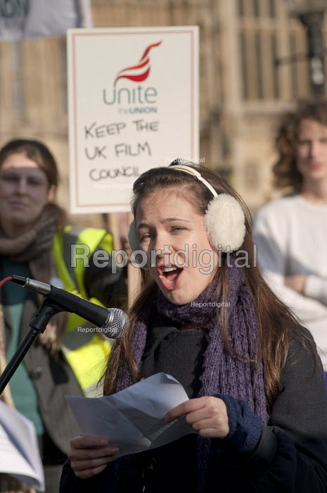 Ellie Paskell, Equity, speaking at a joint union lobby of Parliament over the Public Bodies Bill, Westminster, London. - Philip Wolmuth - 2011-02-09