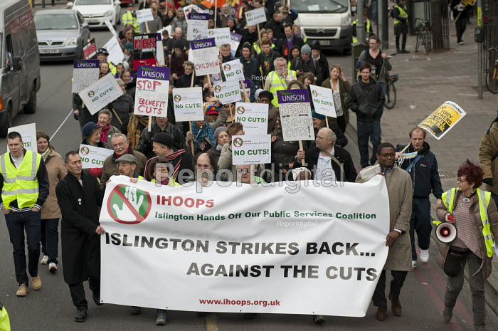 Islington Hands Off Our Public Services coalition march to protest at public spending cuts. - Philip Wolmuth - 2011-02-05
