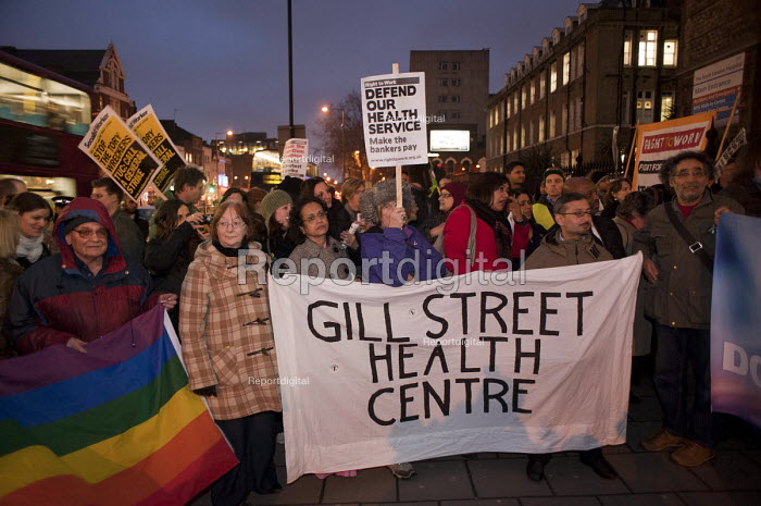 Doctors and patients from Gill Street Health Centre protest against cuts at Barts and the London NHS Trust, Royal London Hospital, Whitechapel. - Philip Wolmuth - 2011-02-11