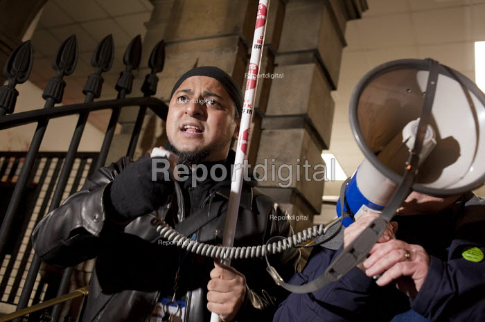 Hospital worker Akhtar Ali (Unite), address a protest against cuts at Barts and the London NHS Trust, Royal London Hospital, Whitechapel. - Philip Wolmuth - 2011-02-11