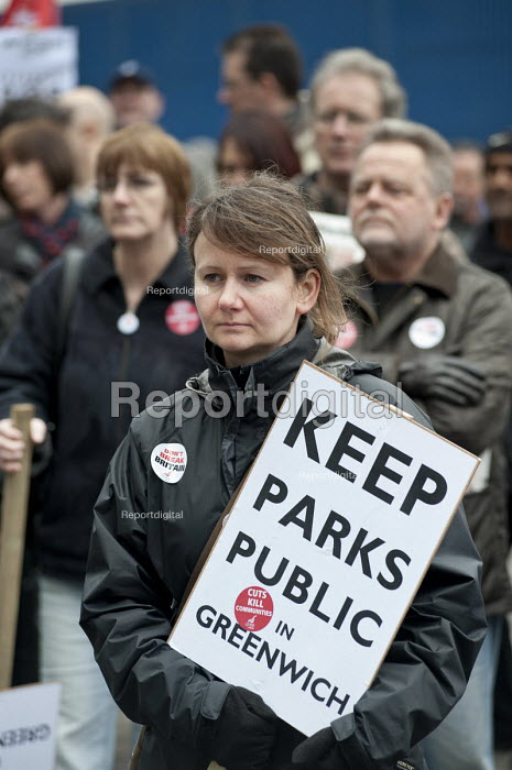 Keep parks public. March against proposed cuts in spending by Greenwich Council, Woolwich, London. - Philip Wolmuth - 2011-02-12