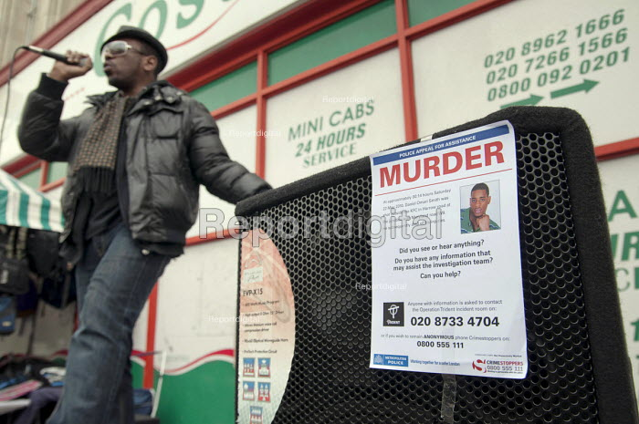 Singer Noel McKoy, Community Rally organised by the Tell It Parents' Action Group to launch a campaign aimed at addressing the problem of gang violence in North Westminster. Police poster appealing for witnesses to the murder, in a drive-by shooting, of Daniel Omari Smith on the Harrow Road in May 2010. - Philip Wolmuth - 2011-03-05