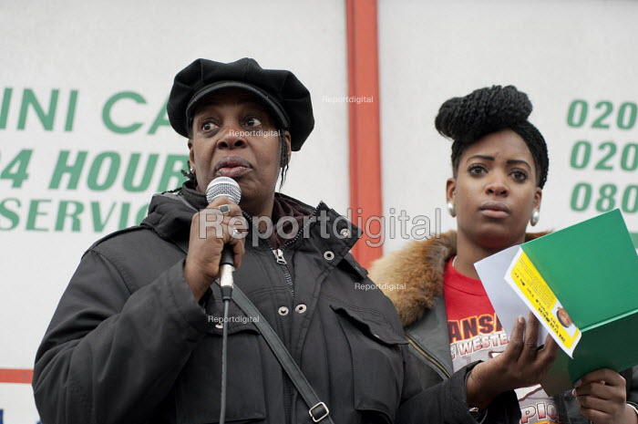 Winklet and Cherell Smith, mother and twin sister of Daniel Omari Smith, who was murdered in a drive-by shooting on the Harrow Road in May 2010. Community Rally organised by the Tell It Parents' Action Group to launch a campaign aimed at addressing the problem of gang violence in North Westminster. - Philip Wolmuth - 2011-03-05