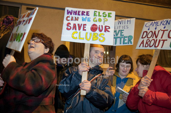 Users of day centres for people with learning difficulties threatened with closure, demonstrate outside Camden Town Hall before a council Cabinet budget-setting meeting. - Philip Wolmuth - 2011-02-23