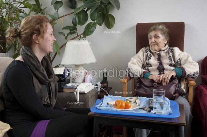 Alicia Nicolas, who has suffered a stroke, is unable to leave her flat unaided and receives regular weekly visits from volunteer Luizee Buchan, through Age Concern Camden's Good Neighbours Scheme. - Philip Wolmuth - 2011-02-16