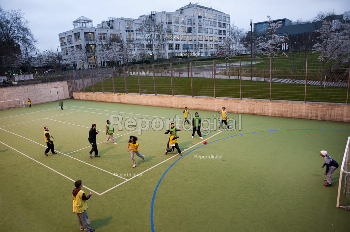 Handball game at an After-school club at the Winchester Project, Swiss Cottage, which may close due to cuts to Camden Council's funding. - Philip Wolmuth - 2011-03-14