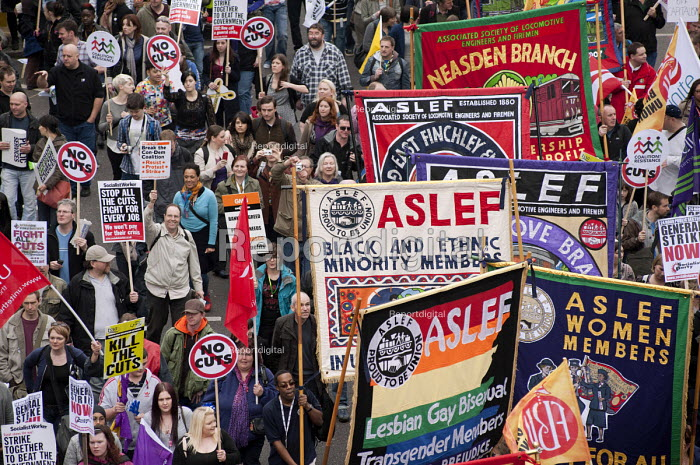 ASLEF banners, TUC March for the alternative. Jobs, Growth and Justice. London - Philip Wolmuth - 2011-03-26