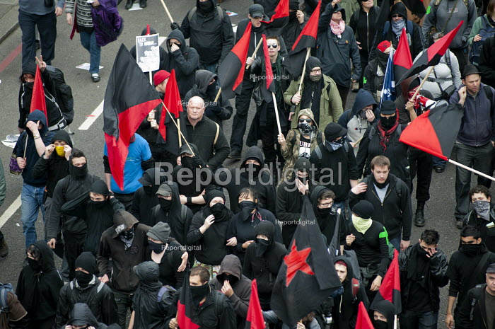 Black block of masked anarchists, TUC March for the alternative. Jobs, Growth and Justice. London - Philip Wolmuth - 2011-03-26