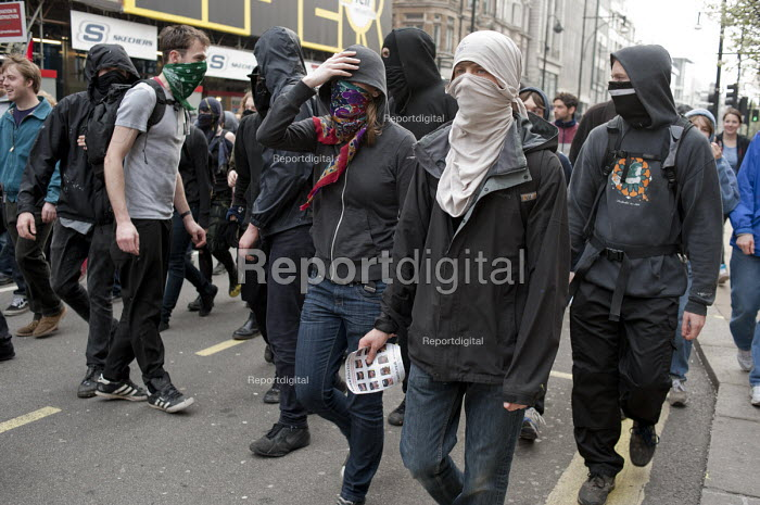 Anarchists in Oxford Street, protest against public spending cuts, London. - Philip Wolmuth - 2011-03-26