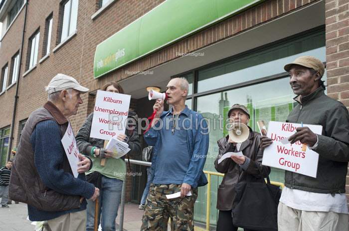 Kilburn Unemployed Workers Group demonstrate outside the local JobCentre Plus over benefit cuts resulting from discretionary sanctions on Jobseekers Allowance claimants. - Philip Wolmuth - 2011-04-26