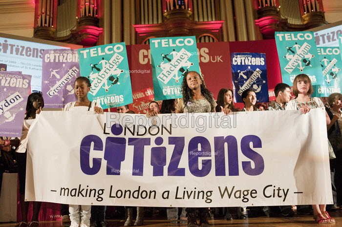 """A �Day for Civil Society"""" organized by Citizens UK / London Citizens to celebrate 10 years of the Living Wage Campaign, launch a National Living Wage Foundation and call for the living wage to be adopted nationally. Central Hall, Westminster. - Philip Wolmuth - 2011-05-02"""