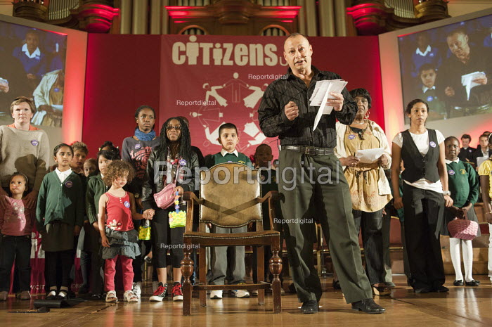 "Members of Citizens UK give personal testimony on the impact of the living wage on their own lives at a �Day for Civil Society"" organized by Citizens UK / London Citizens to celebrate 10 years of the Living Wage Campaign, launch a National Living Wage Foundation and call for the living wage to be adopted nationally. Central Hall, Westminster. - Philip Wolmuth - 2011-05-02"