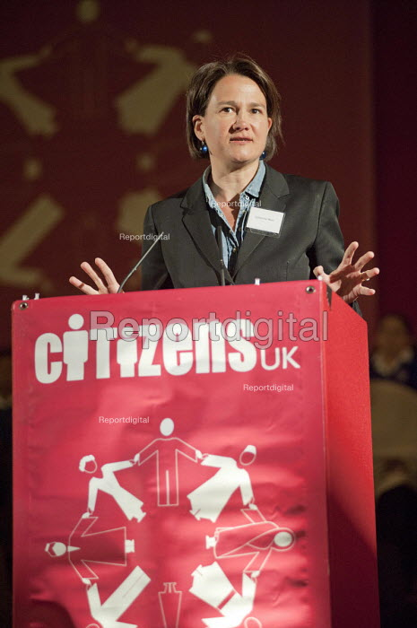 "Councillor Catherine West, Leader of Islington Council, addresses a �Day for Civil Society"" organized by Citizens UK / London Citizens to celebrate 10 years of the Living Wage Campaign, launch a National Living Wage Foundation and call for the living wage to be adopted nationally. Central Hall, Westminster. - Philip Wolmuth - 2011-05-02"