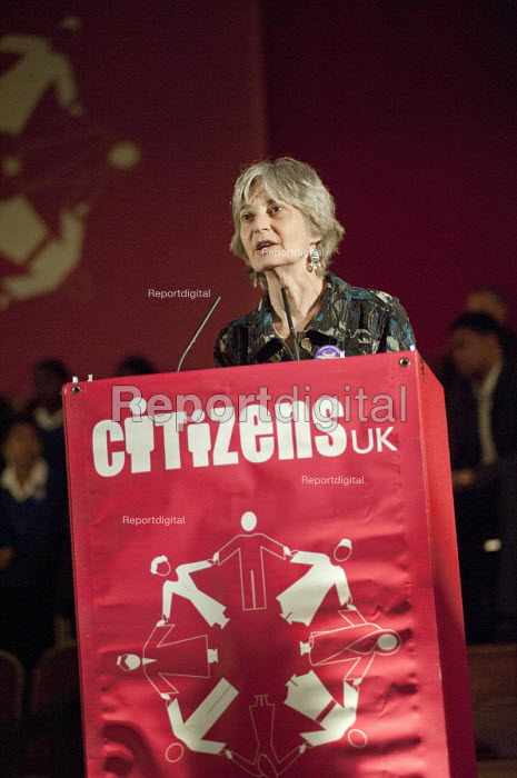 """Deborah Littman, of trade union Unison, addresses a �Day for Civil Society"""" organized by Citizens UK / London Citizens to celebrate 10 years of the Living Wage Campaign, launch a National Living Wage Foundation and call for the living wage to be adopted nationally. Central Hall, Westminster. - Philip Wolmuth - 2011-05-02"""