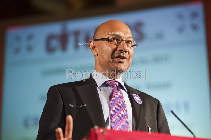 "Bharat Mehta, Chief Executive of the Trust for London, announces the new rate for the London Living Wage ( �8.30) at a �Day for Civil Society"" organized by Citizens UK / London Citizens to celebrate 10 years of the Living Wage Campaign, launch a National Living Wage Foundation and call for the living wage to be adopted nationally. Central Hall, Westminster. - Philip Wolmuth - 2011-05-02"
