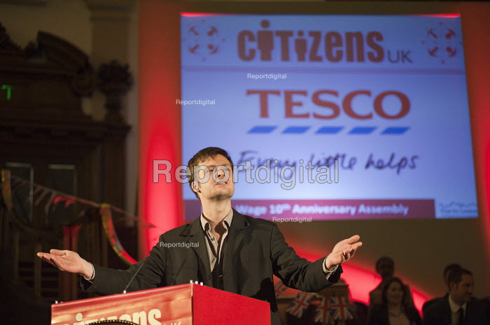 "Launch of a national campaign to demand that Tesco pay its employees a Living Wage. A �Day for Civil Society"" organized by Citizens UK / London Citizens to celebrate 10 years of the Living Wage Campaign, launch a National Living Wage Foundation and call for the living wage to be adopted nationally. Central Hall, Westminster. - Philip Wolmuth - 2011-05-02"