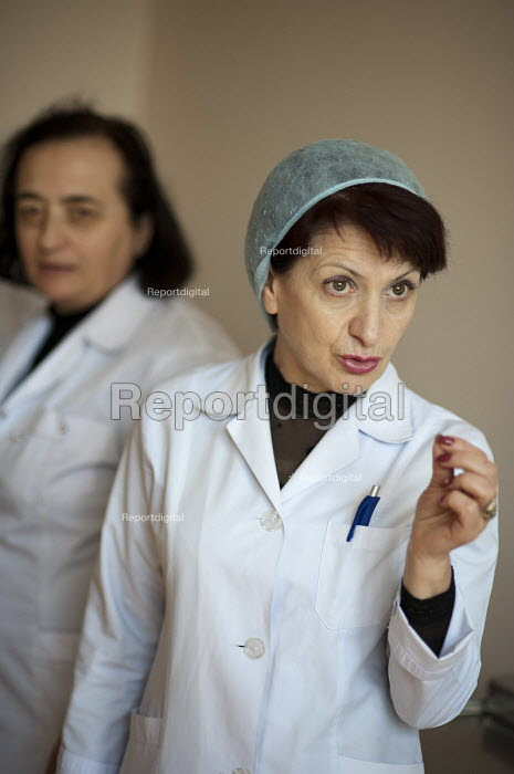 Nurses in the recently privatised Centre for Re-creational Plastic Surgery and Thermal Affects, in Tbilisi. - Philip Wolmuth - 2011-04-08