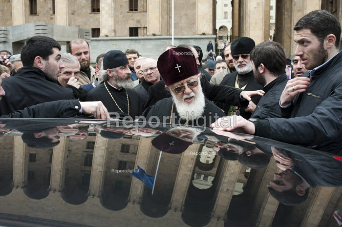 Catholicos Patriarch Ilia II, head of the Eastern Orthodox Church in Georgia, attends a Memorial rally on the anniversary of the 1989 Soviet massacre of 20 hunger strikers outside the Parliament building in Tbilisi, Georgia. - Philip Wolmuth - 2011-04-09