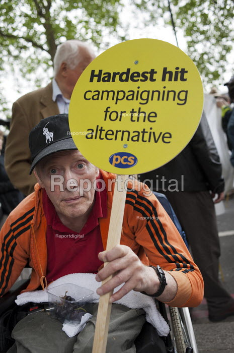 The Hardest Hit. London march organised by the UK Disabled People's Council to protest at government cuts to disability benefits, allowances and services. - Philip Wolmuth - 2011-05-11