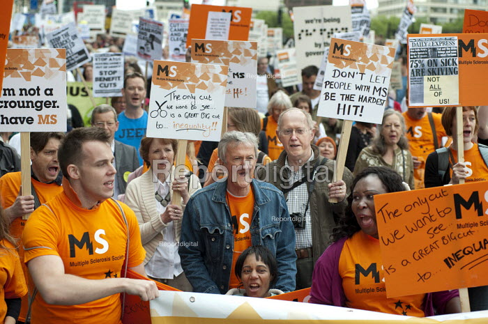 Multiple Sclerosis Society. The Hardest Hit. London march organised by the UK Disabled People's Council to protest at government cuts to disability benefits, allowances and services. - Philip Wolmuth - 2011-05-11