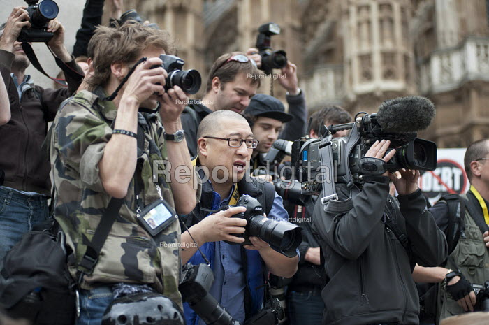 Group of Press photographers, Taxpayers Alliance rally, Westminster, London. - Philip Wolmuth - 2011-05-14