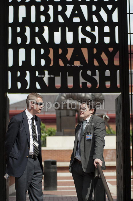 Managers guard the British Library as public sector workers strike over planned pension changes. - Philip Wolmuth - 2011-06-30