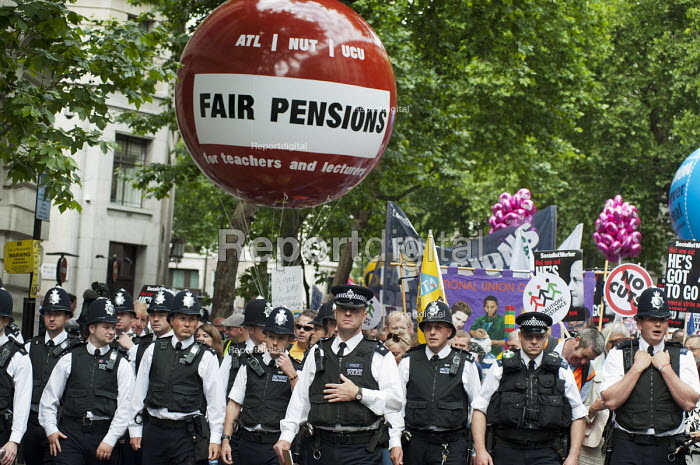 Heavily policed demonstration by striking public sector workers over planned pension changes. - Philip Wolmuth - 2011-06-30