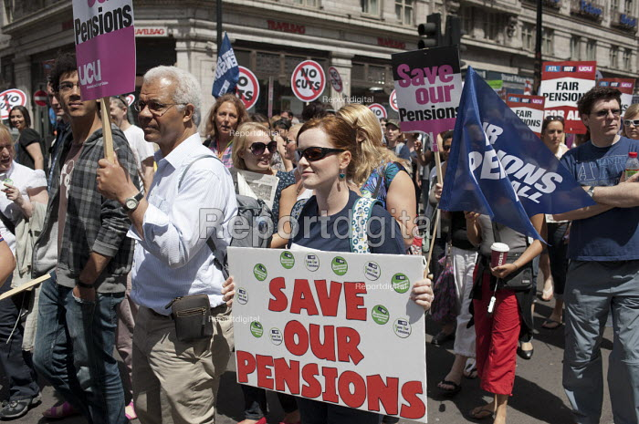 Striking public sector workers demonstrate in London over planned pension changes. - Philip Wolmuth - 2011-06-30