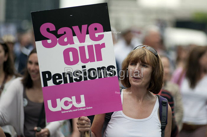 Striking public sector workers demonstrate in London over planned pension changes.   � - Philip Wolmuth - 2011-06-30