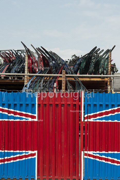 Car doors in a scrapyard and Union Jack in Hackney Wick. - Philip Wolmuth - 2011-08-02
