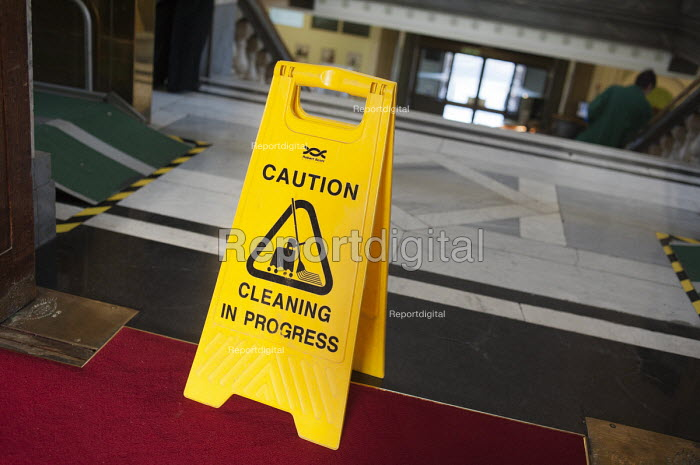 Cleaning in Progress, health and safety sign in Islington Town Hall during the early morning cleaning shift. - Philip Wolmuth - 2011-06-02