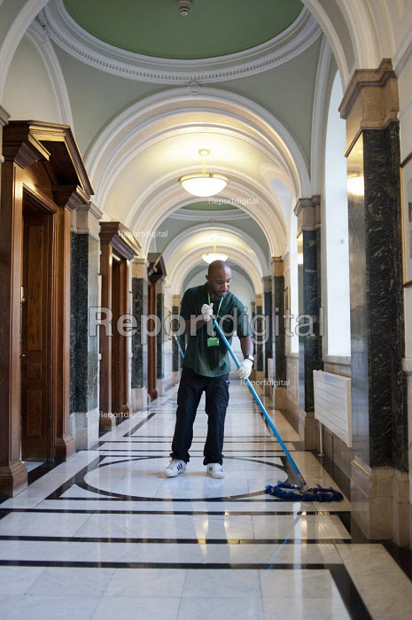 Cleaner on an early morning shift at Islington Town Hall. The 130 cleaners of the borough's 70 municipal buildings are now directly employed by the local authority, following 10 years with private contractor Kier - Philip Wolmuth - 2011-06-02