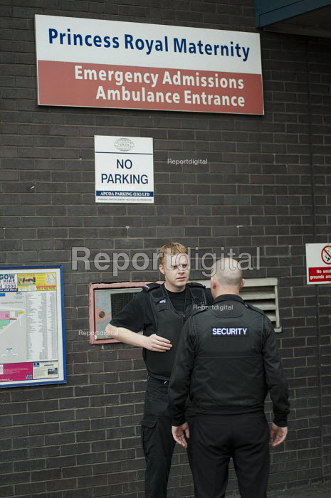 Security guards at Glasgow Royal Infirmary, where all hospital ancillary services are provided by directly employed staff. A PFI contract with Sodexho ended in 2006 - Philip Wolmuth - 2011-07-05