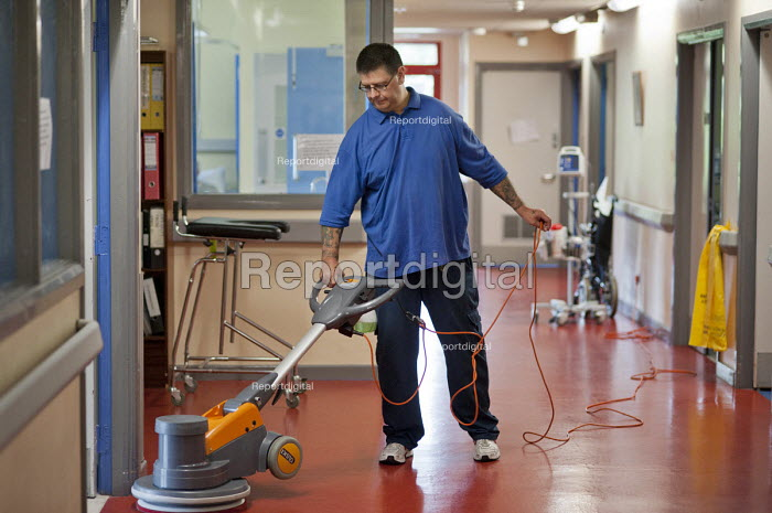 Polishing the floor. At Musgrave Park Hospital all cleaning and ancillary staff are directly employed by Belfast Health and Social Care Trust, following the expiry of a 15 year contract with Mediclean in 2010. - Philip Wolmuth - 2011-08-05