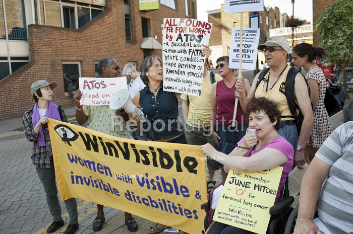 National Day of Action against Atos. Disability campaigners protest at the presence of Atos Healthcare at a BMJ Recruitment Fair in Islington, London, and the company's involvement in work capability assessments of disabled benefit claimants. - Philip Wolmuth - 2011-09-30