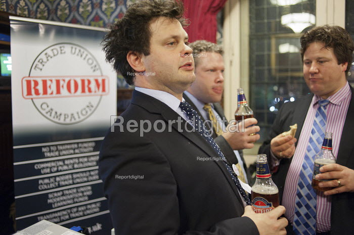 Beer and sandwiches. Harry Cole, journalist and blogger, currently the News Editor of �Guido Fawkes and the UK Political Editor of The Commentator. Launch of the Trade Union Reform Campaign, House of Commons, London. - Philip Wolmuth - 2012-01-24