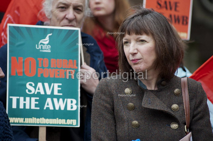 Frances O'Grady, TUC gen sec and Farm workers protest outside Parliament at government plans to scrap the Agricultural Wages Board, which protects 154,000 rural workers' pay, terms and conditions - Philip Wolmuth - 2012-11-12