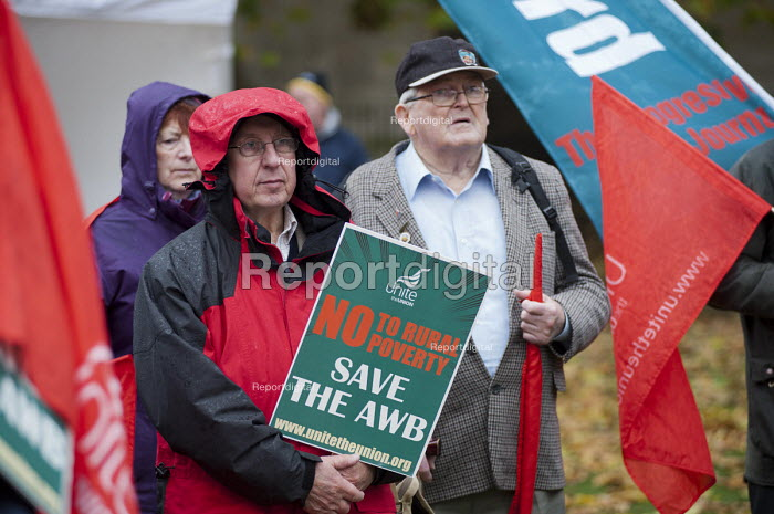 Farm workers protest outside Parliament at government plans to scrap the Agricultural Wages Board, which protects 154,000 rural workers' pay, terms and conditions. - Philip Wolmuth - 2012-11-12