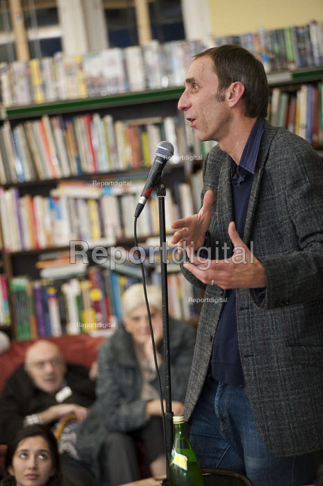 Author Will Self reads from his novel Umbrella, which has been shortlisted for the 2012 Man Booker prize, at the occupied Friern Barnet library. The library has been run by Occupy London and local volunteers since it was closed down by Barnet Council. - Philip Wolmuth - 2012-11-14