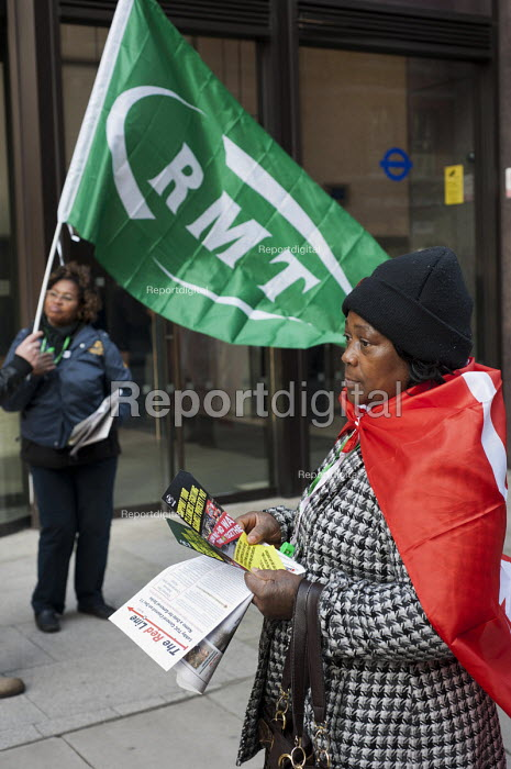 RMT strikers demonstrate outside the Transport for London head office as part of a day of coordinated national action for a living wage for cleaners and security staff at six rail operators. - Philip Wolmuth - 2012-11-30