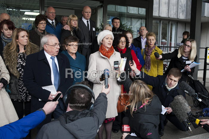 Julie Bailey, founder of patient campaign group Cure The NHS, with fellow campaigners outside the launch of the Mid-Staffordshire NHS Foundation Trust Public Inquiry Report by Robert Francis QC. Westminster, London. - Philip Wolmuth - 2013-02-06