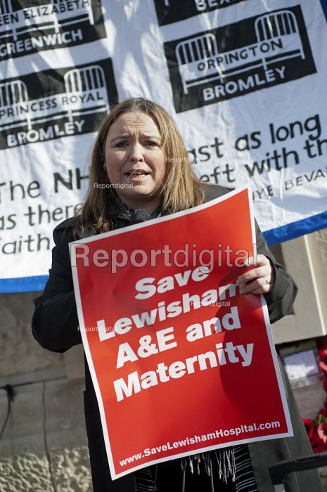 Nurse and Unison member Harriet O'Hara. Health workers, patients, locals and trade unions, Save Lewisham Hospital Campaign rally outside the hospital to protest at proposed closure of A&E and maternity services. - Philip Wolmuth - 2013-02-15