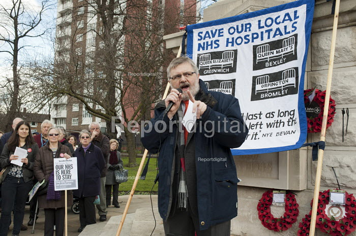 Sir Steve Bullock, Mayor of Lewisham. Health workers, patients, locals and trade unions, Save Lewisham Hospital Campaign rally outside the hospital to protest at proposed closure of A&E and maternity services. - Philip Wolmuth - 2013-02-15
