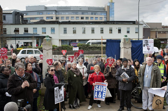Health workers, patients, locals and trade unions, Save Lewisham Hospital Campaign rally outside the hospital to protest at proposed closure of A&E and maternity services. - Philip Wolmuth - 2013-02-15