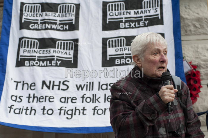 Doris Smith, Lewisham Pensioners Forum. Health workers, patients, locals and trade unions, Save Lewisham Hospital Campaign rally outside the hospital to protest at proposed closure of A&E and maternity services. - Philip Wolmuth - 2013-02-15